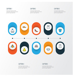 dress colorful outline icons set collection of t vector image