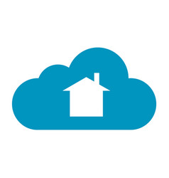 Flat color cloud home icon vector