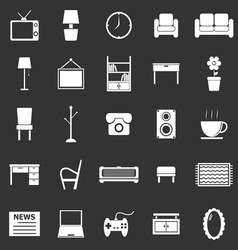 Living room icons on black background vector