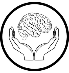 Brain in hands icon vector
