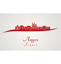 Angers skyline in red vector