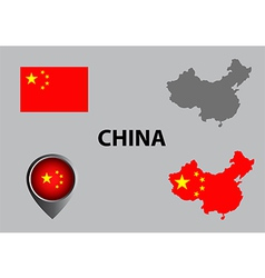 Map of china and symbol vector