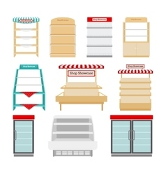 Store shelves or shop showcases vector