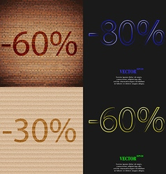 80 30 60 icon set of percent discount on abstract vector