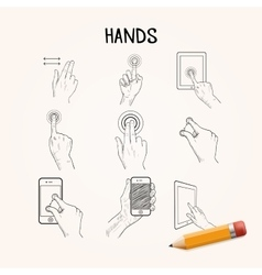 Hand drawn hands with phone touchpad vector