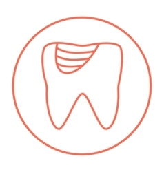 Tooth decay line icon vector