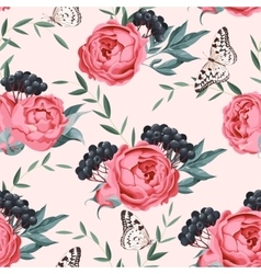 Peonies and berries seamless vector image