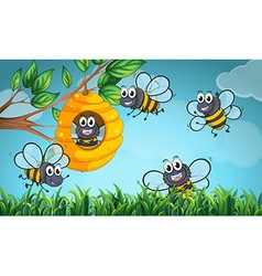 Scene with bees and beehive vector