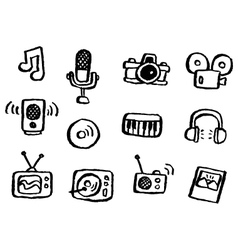 Doodle series media vector