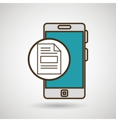 Smartphone blue document isolated icon design vector