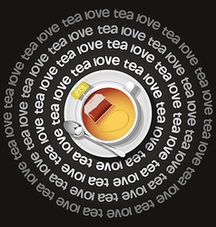 a cup of heart in tea with tea bag vector image vector image
