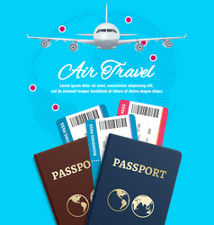 air travel banner with earth plane passport and vector image