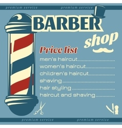 Barbershop price list template vector