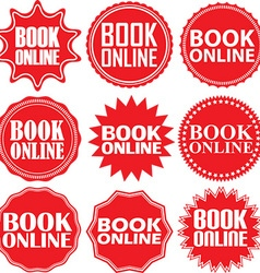 Book online red label Book online red sign Book vector image vector image