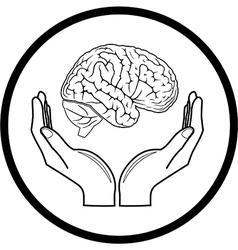 Brain in hands icon vector