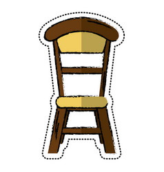 cartoon wooden chair vintage design vector image vector image