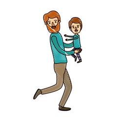 Color crayon stripe cartoon full body man carrying vector