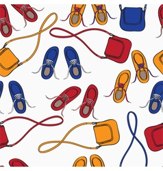 Colourful array of shoes and handbags vector image vector image