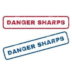 Danger sharps rubber stamps vector