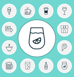 Eating icons set with lemonade sorbet hot drink vector