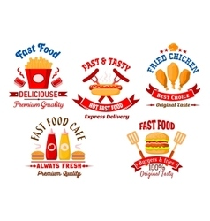 Fast food cafe and grill restaurant retro badges vector