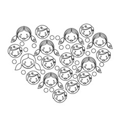figure people together inside the heart icon vector image