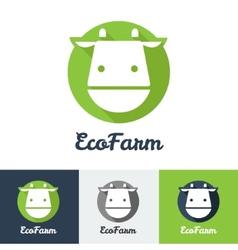 Flat modern minimalistic cow logo vector