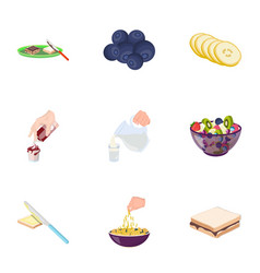 Fruit dessert sandwiches and other types of food vector