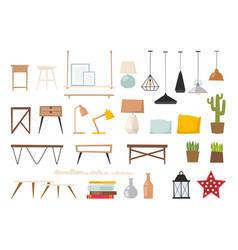 Furniture room interior design apartment vector