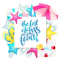 Hand lettering summer phrase surrounded vector