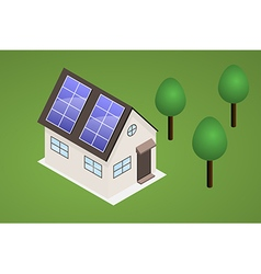 House with solar panels vector