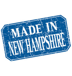 Made in new hampshire blue square grunge stamp vector