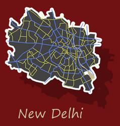 new delhi map sticker style design - vector image