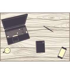 Office subjects on a wooden table vector