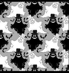 seamless halloween pattern ghosts vector image