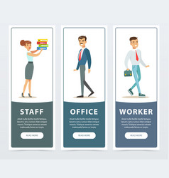 set of banners with office workers characters in vector image vector image