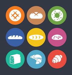 Set of colourful icons with baked goods isolated vector