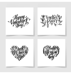 set of happy valentines day handwritten lettering vector image