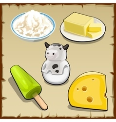 Set of products from milk curd cheese and more vector