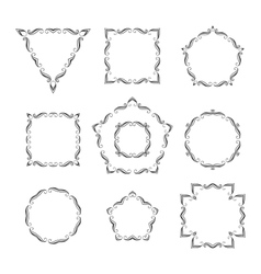 Set of ten different retro floral frame vector
