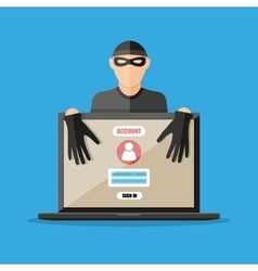 Thief hacker stealing passwords from laptop vector image vector image