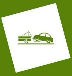 Tow truck sign white icon obtained as a vector