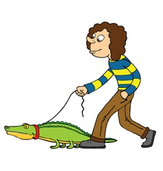 Woman with pet crocodile vector image