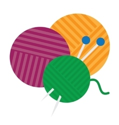 Yarn ball and needles icon vector