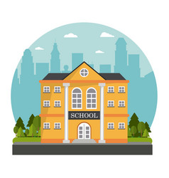 yellow building school tree skyline design vector image