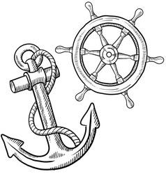 Doodle ship anchor wheel vector