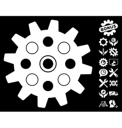 Gearwheel icon with tools bonus vector