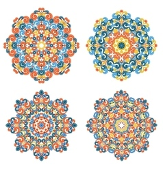 Colorful mandalas traditional lace ornaments vector