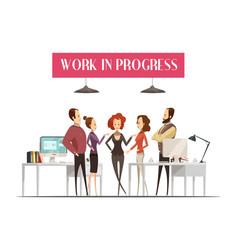 Work in progress cartoon style design vector