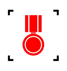 Medal sign   red icon inside vector